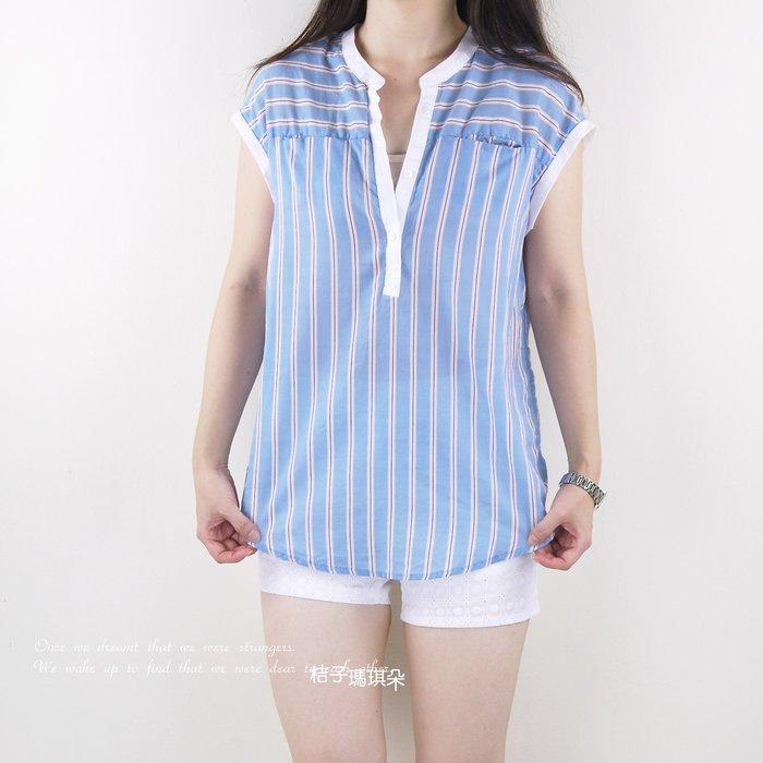 正韓 韓國連線 直條紋V領棉紗衫(藍色、卡其)~桔子瑪琪朵。惠衣