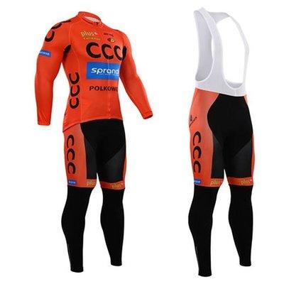【綠色運動】2015款CCC橙色 自行車衣 腳踏車衣 騎行服 單車自行車服 車衣車褲背帶長套裝 吸濕排汗透氣吊帶單車服