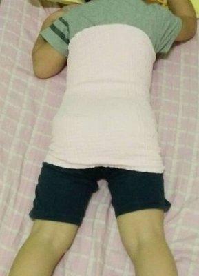 **蘆洲嘉嘉** 兒童雙層雙色護肚肚圍 腹卷 防踢被 護肚 成人肚圍-36cm 粉 黃