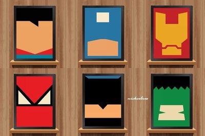 尼克卡樂斯~復仇者聯盟卡通抽象掛畫 漫威英雄掛畫LOFT風掛畫 北歐掛畫 服飾店咖啡廳有框畫 客廳掛畫 酒吧牆壁掛飾