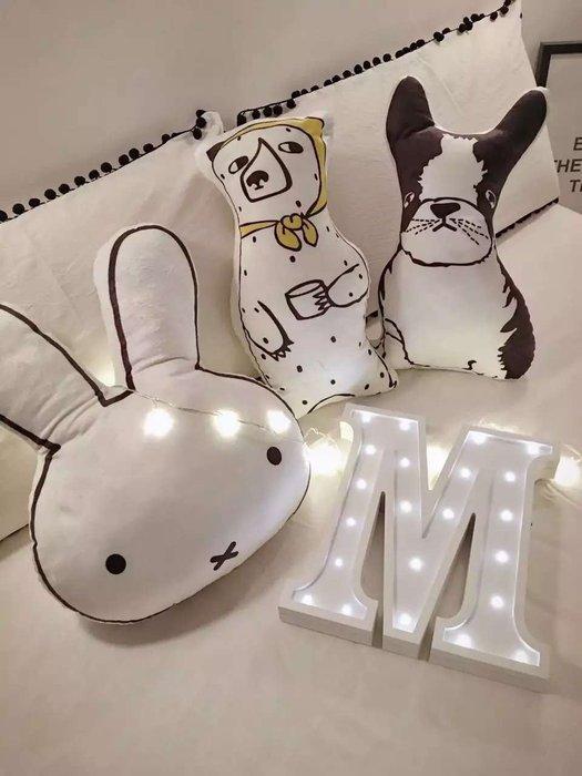 Misa Shop~黑白系可愛鬥牛犬可愛兔雙面數碼印花兒童遊戲抱枕 NT-581
