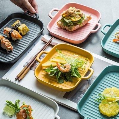 有一間店-北歐創意陶瓷長方盤家用餐盤雙耳烤盤烤箱微波爐酒店盤子(規格不同 價格不同)