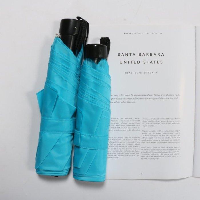 奇奇店-超扁設計海藍色素色自動男女用晴雨傘#加固 #小清新 #晴雨兩用