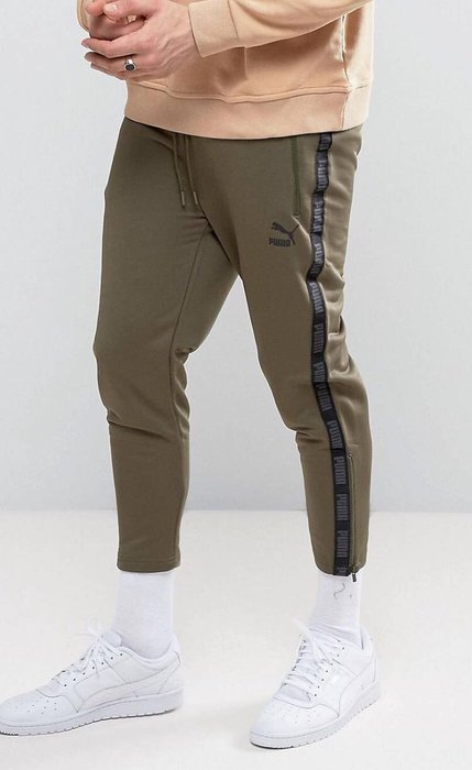 PUMA vintage joggers in khaki 墨綠 抽繩褲 七分褲 LOGO 側邊拉鍊 XS 小版男裝