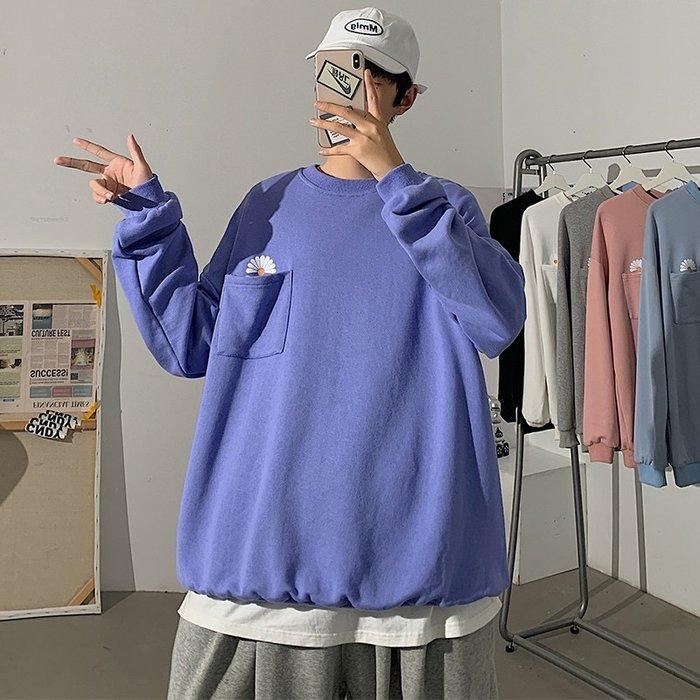💞【💞HU帥氣潮男爆款💞】☛型男必備 ☚學院風寬鬆口袋小雛菊印花大尺碼t恤💞