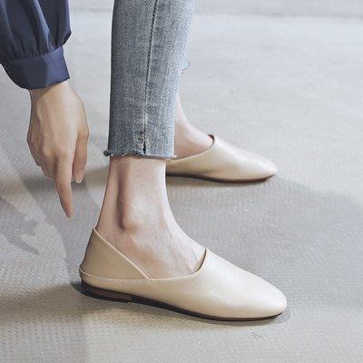 兩穿單鞋 女平底鞋 春季新款一腳蹬 百搭懶人鞋 豆豆鞋 奶奶鞋子女【老王家】