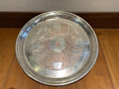 垃圾拍賣場 早期 紅銅鍍銀 茶盤 大茶盤 刻紋 銀盤 silver plate on copper 222
