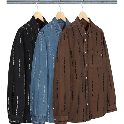【紐約范特西】預購 SUPREME FW20 Logo Stripe Jacquard Denim Shirt 長袖襯衫
