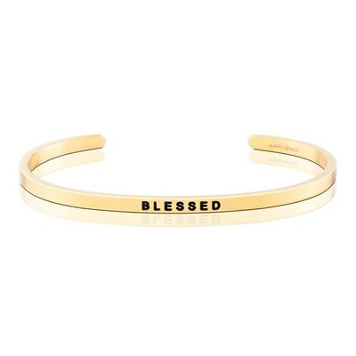 MANTRABAND 美國悄悄話手環 BLESSED 享受榮寵 金色手環