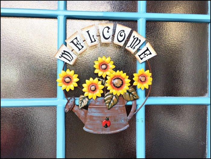鄉村田園風 仿舊水壺造型向日葵歡迎光臨壁飾 仿古瓢蟲welcome標示牌 門口迎賓掛牌牆壁花園戶外裝飾品吊飾【歐舍傢居】