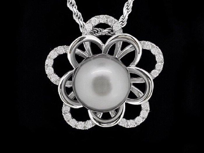 天然南洋12.5mm黑珍珠墜鍊  純手工花朵造型  750K金墜台鑲鑽