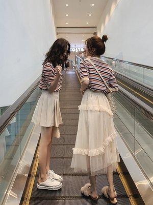 網紅半身裙套裝女春夏2019新款韓版洋氣減齡很仙的閨蜜裙子兩件套