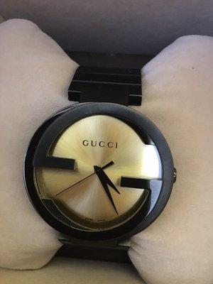 [GUCCI]雙G款經典男錶,二手品。