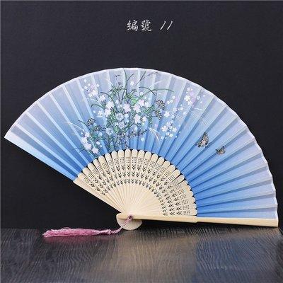 扇子折扇中國風女日式和風小扇子旗袍道具古典真絲折疊扇古風折扇(第2區)