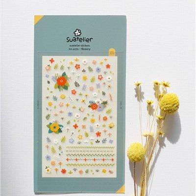 ❅PAVEE❅ 韓國Suatelier~ Flowery 花朵田園 手帳裝飾貼紙/指甲貼紙 (No.1070)