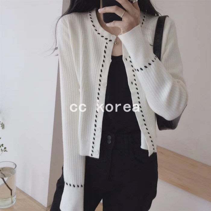 現貨 小香風 縫線開襟針織外套 CC KOREA ~ Q30732