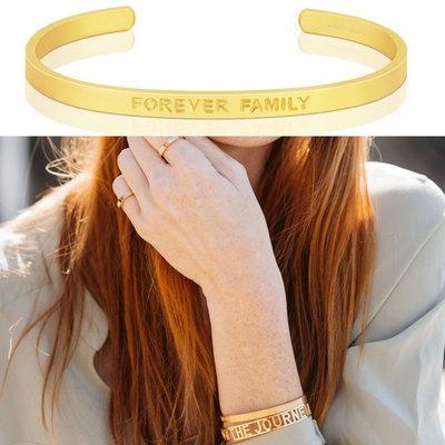 MANTRABAND Forever Family 一輩子的家人 寬版 霧面金色手環