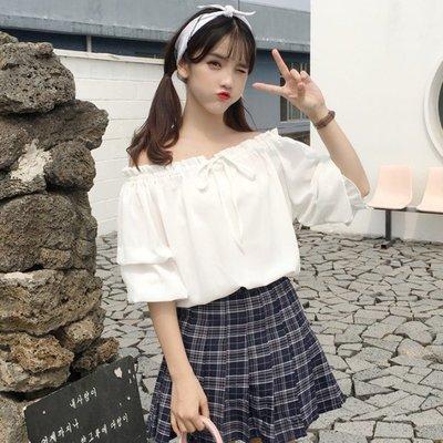 韓版 平口T恤 一字肩 女裝學院風 一字肩 圓領蛋糕袖百搭雪紡衫寬松襯衫上衣