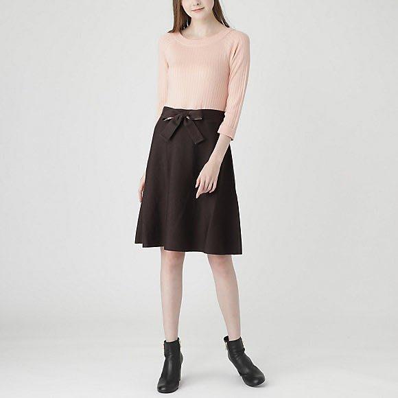 預購 日本限定 Blue Label crestbridge 毛混針織上衣 棉料裙 附腰帶 洋裝 七分袖