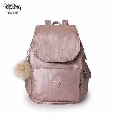 Kipling 猴子包 K12147 玫瑰金 金屬粉 後背包 翻蓋雙肩包 拉鍊款 輕量 耐磨 防水 推薦