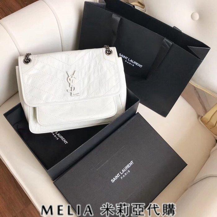 Melia 米莉亞代購 歐洲代購 Saint Laurent YSL 18ss 8月新品 復古鍊條皺褶包 油蠟牛皮 白色