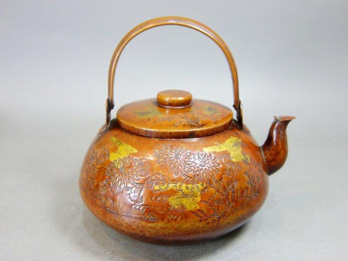 『華寶軒』日本茶道具 昭和時期 銅製 手打鎚目紋 彫金 銅壺水注
