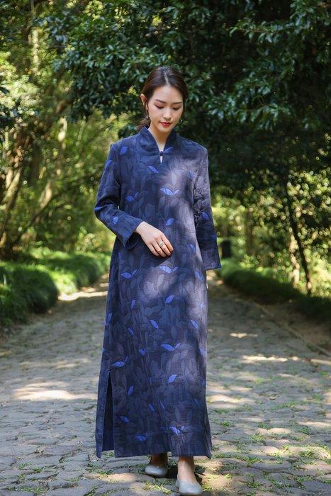設計款V領中國風樹葉提花氣質款開叉連衣裙(老銀屋)