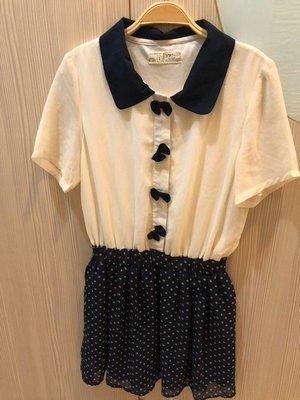 小花別針、專櫃品牌【 rivet & surge】雪紡藍色連身洋裝連身裙