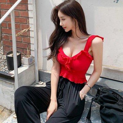 【Sweet 韓國連線】韓版氣質針織吊帶無袖上衣+寬鬆休閒褲兩件套裝褲-S~XL 7691【現貨+預購】