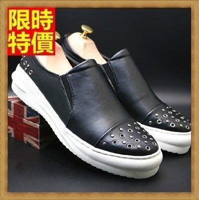 氣墊鞋 皮鞋-時尚套腳真皮鉚釘休閒男鞋子2色71l7[獨家進口][米蘭精品]