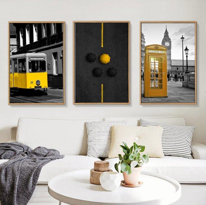 ins北歐建築歐美裝飾畫畫芯畫布客廳背景牆掛畫壁畫微噴畫心(不含框)