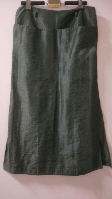 墨綠麻紗 開叉長裙