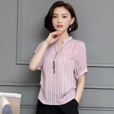日和生活館 短袖襯衫遮肚子寬鬆上衣顯瘦條紋洋氣小衫S686