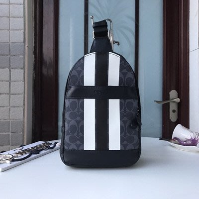 琳精品@COACH 72353  新款男士潮男拼色後背包 前胸包 後胸包 旅行包 書包 萬用包