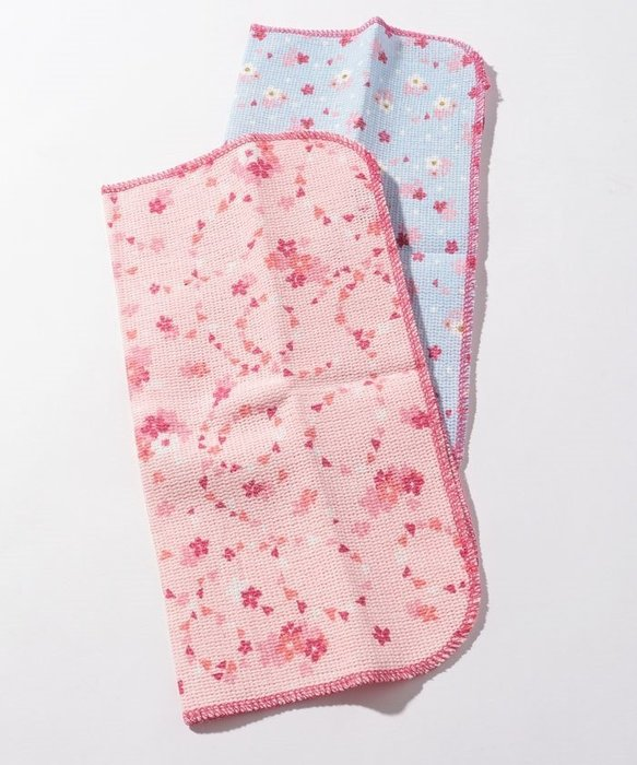 Ariel Wish-日本Afternoon Tea限量浪漫春天櫻花杯抗菌防臭加工廚房抹布粉紅色&天空藍兩入一組-絕版品