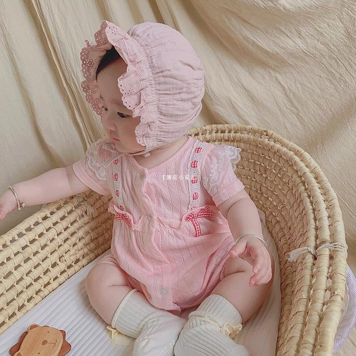 『薄荷小苑』 IDEA嬰童裝2020夏季潮新款女寶寶短袖爬服新生嬰幼兒可愛風哈衣連身衣