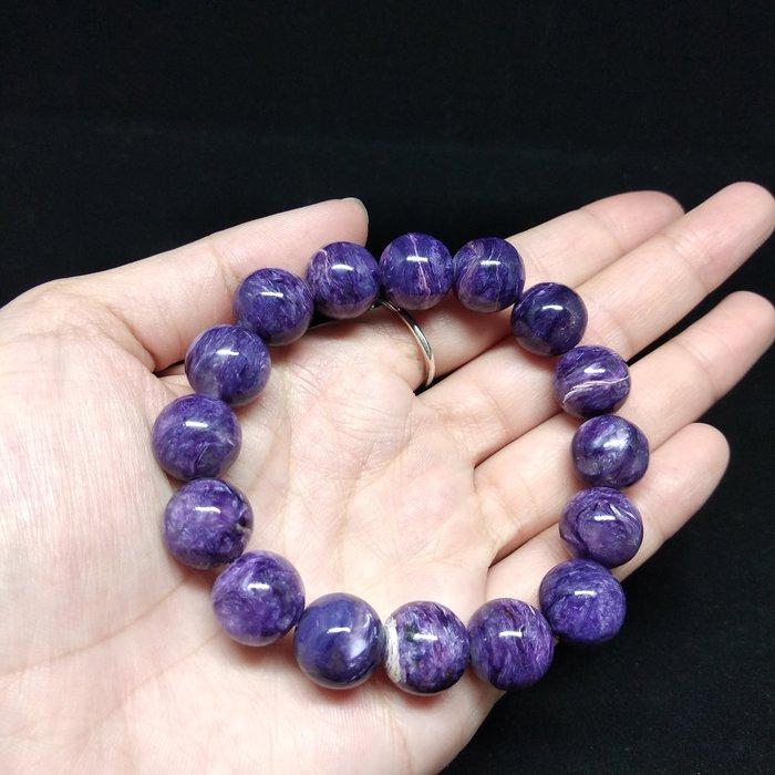 《博古珍藏》紫龍晶圓珠手鍊.天然西伯利亞寶石.珠徑13mm.水頭飽滿.手環手鐲飾品禮品.感恩回饋
