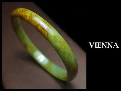 (已蒙收藏)《A貨翡翠》【VIENNA】《手圍18.4/8mm版寬》緬甸玉/冰種古典紅翡秋香綠/玉鐲/手鐲F+052