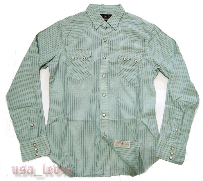 【美國LEVIS專賣 】RRL western shirt  湖水綠 金屬包邊珍珠釦 西部長袖襯衫 M號現貨賠售