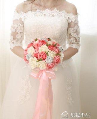 紗帶手捧花新娘韓式結婚婚禮手捧花仿真30朵玫瑰滿天星送胸花DSXW139