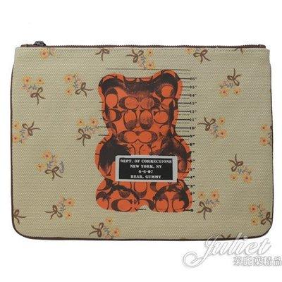 【茱麗葉精品】全新精品  COACH 76933Vandal Gummy小熊聯名大手拿包.米色 現貨