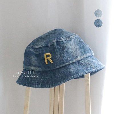 【媽媽倉庫】丹寧水洗牛仔字母漁夫帽 帽子 童帽