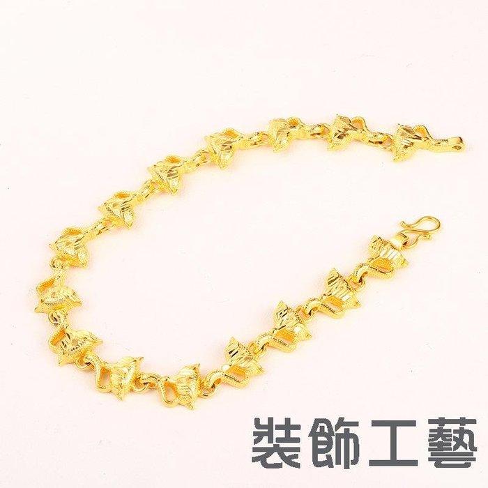 24K金色鍍金手鏈復古時尚飾品 狐貍造型配飾手鏈