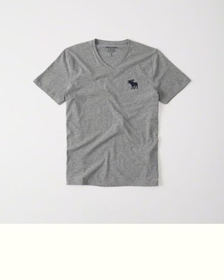 Maple麋鹿小舖 Abercrombie&Fitch *AF 灰色V領麋鹿LOGO素面短T*( 現貨S/XL號 )
