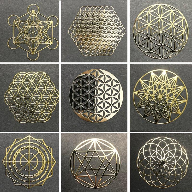 手機貼紙 金屬貼生命之花 能量金屬貼片 手機殼背貼 奧根金字塔模型裝飾貼