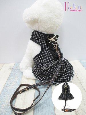☆[Hankaro]☆ 寵愛毛小孩黑色格紋裙裝胸背含牽繩(共三種尺寸)