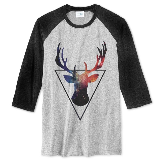 Triangle Deer【現貨】中性七分袖T恤 2色 三角形 鹿 鬍鬚 動物 銀河 太空 文青 藝術美國棉 現貨 亞版