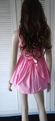 全新 CARVEN 粉嫩櫻花紅 深V露背蝴蝶結小禮服洋裝