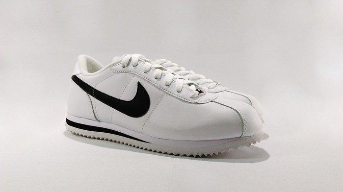 Nike Cortez Basic Leather `06 阿甘鞋 皮革 白底黑勾 ~31