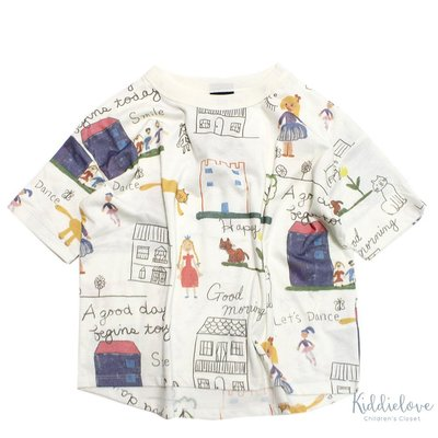 Kiddielove 日本代購 童裝 NEEDLE WORK 兒童插畫圖案寬松短袖T恤